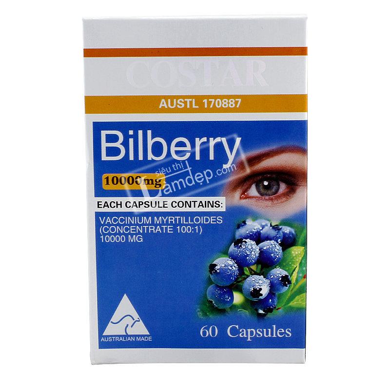 Viên Uống Bổ Mắt bilberry Costar (10000mg x 60 Viên)