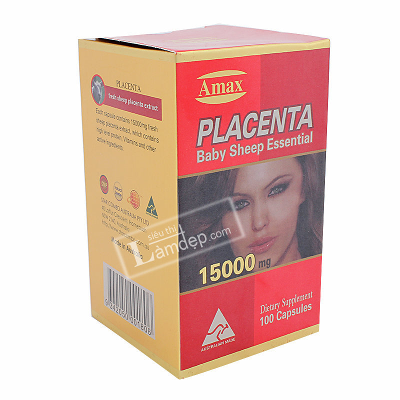 Nhau Thai Cừu Amax Placenta Baby Sheep Essential (15.000mg x 100 Viên)