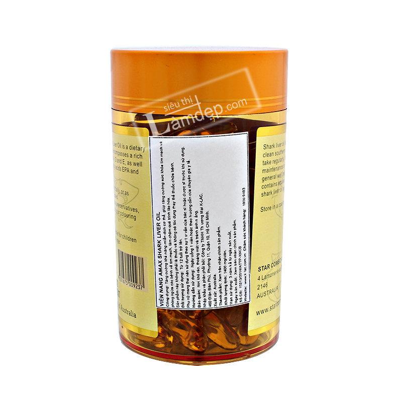 Viên Dầu Cá Shark Liver Oil (1000 mg x 100 Viên)