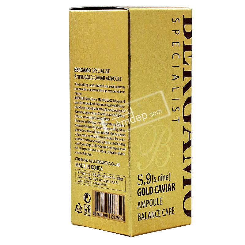 Huyết Thanh Dưỡng Trắng Và Trị Nám Da Bergamo Specialis S.9 Gold Caviar Ampoule