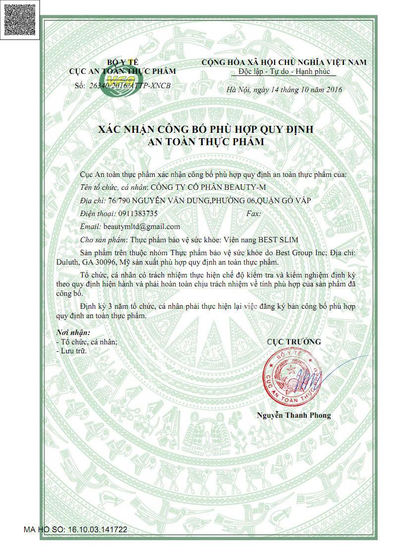 giấy chứng nhận đạt tiêu chuẩn của bộ y tế