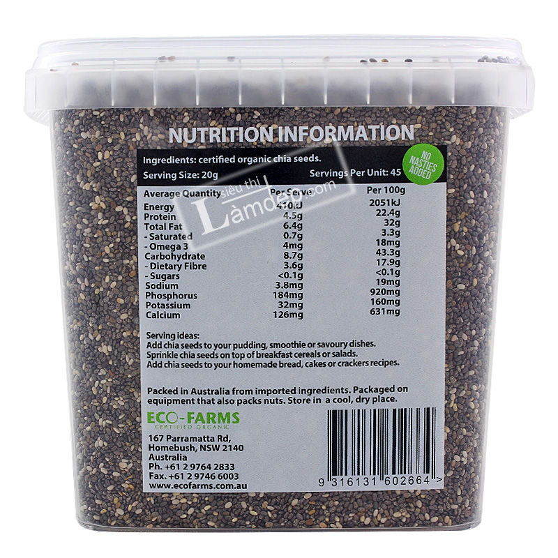 Hạt Chia Úc Fibre Raw Omega 3 Absolute Organic (900gr)