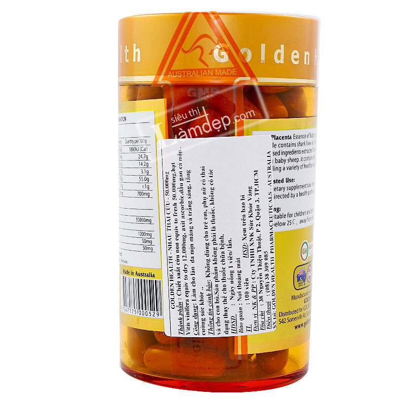 Nhau Thai Cừu GOLDEN HEALTH (50000mg x 100 Viên)
