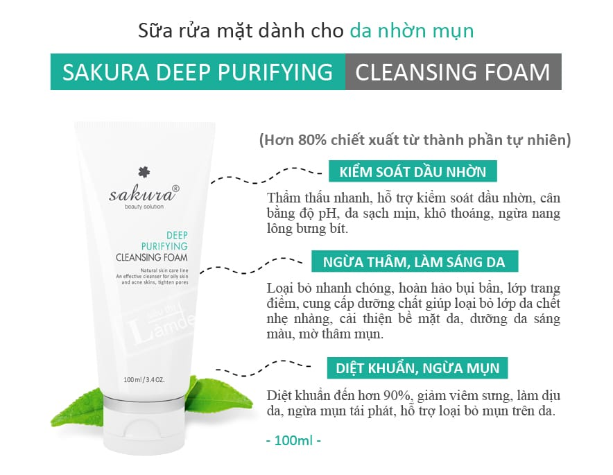 Sữa Rửa Mặt Dành Cho Da Dầu, Mụn Sakura Deep Purifying Cleansing Foam