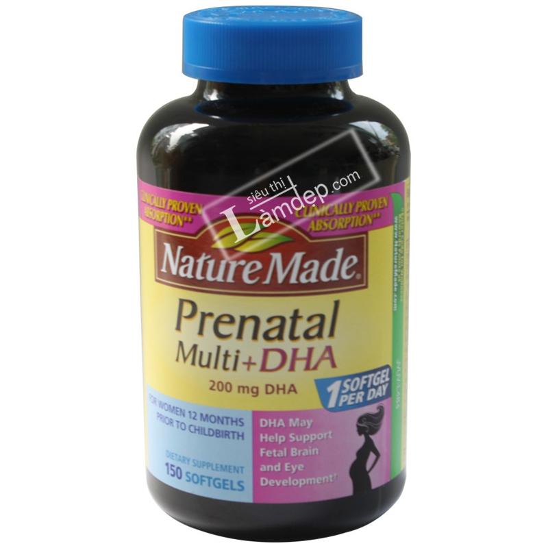 Vitamin Tổng Hợp Cho Phụ Nữ Mang Thai Nature Made Prenatal Multi DHA (150 Viên)