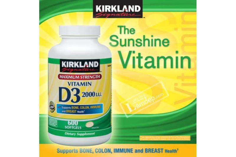 Viên Uống Vitamin D3 2000 IU Kirkland Signature (600 Viên)