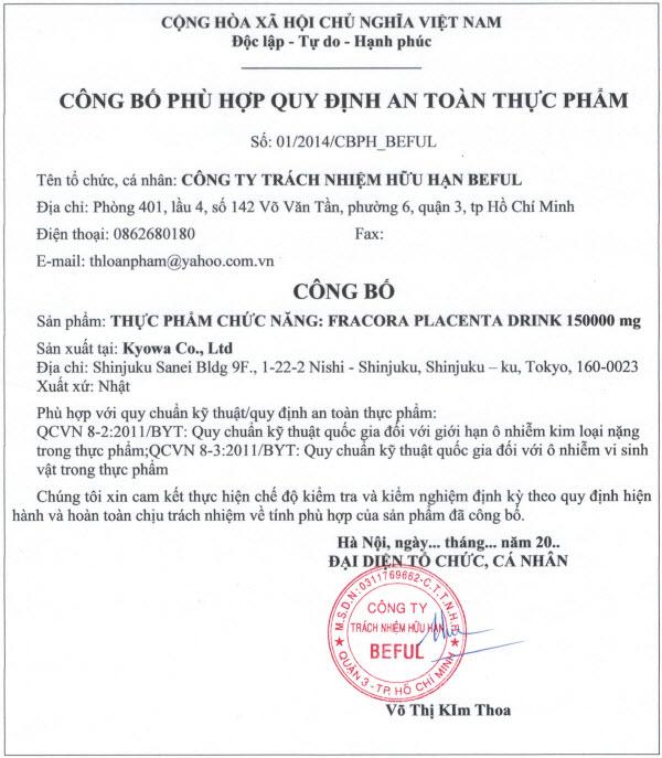 Tinh Chất Nhau Thai Cừu Fracora Placenta 150000mg