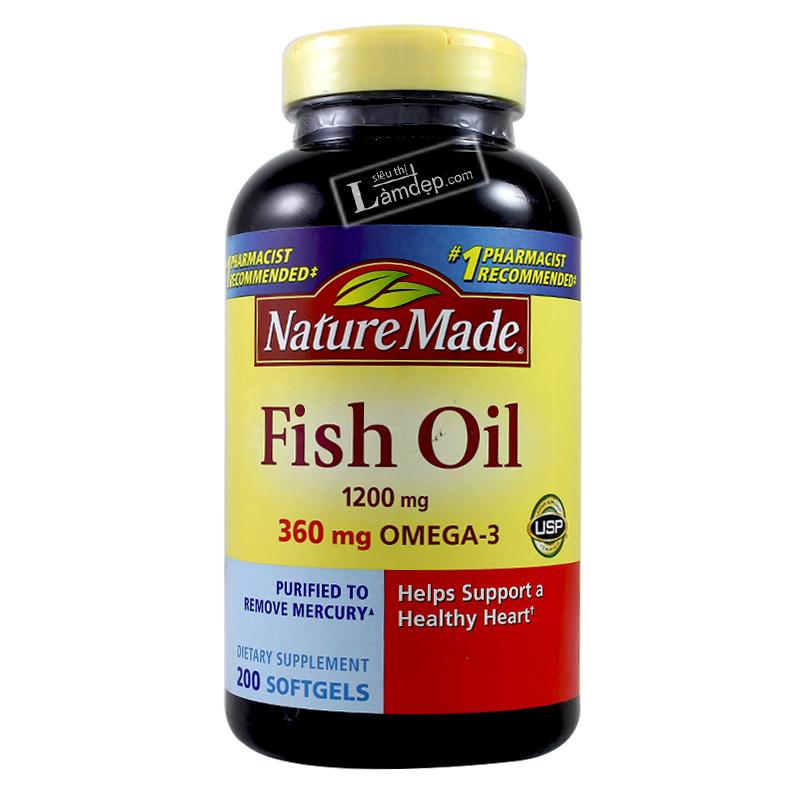 Viên Dầu Cá Nature Made Fish Oil Omega 3 (1200mg x 200 Viên)