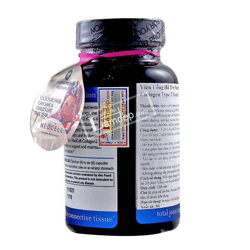 Viên Uống Hỗ Trợ Xương Khớp Collagen Type 2 Neocell 120 Viên