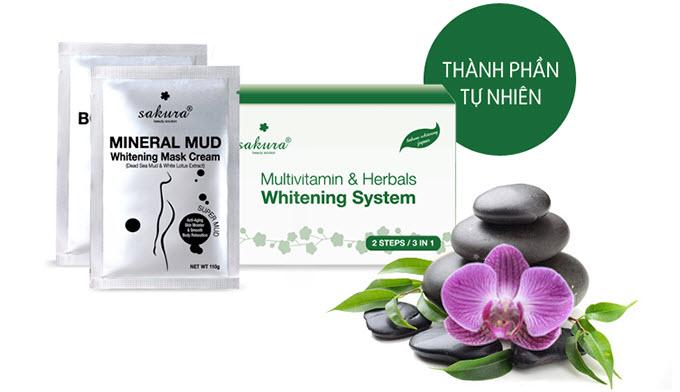 Bộ Kem Tắm Trắng Vitamin C Và Thảo Dược Tổng Hợp Sakura Multivitamin & Herbals Whitening System