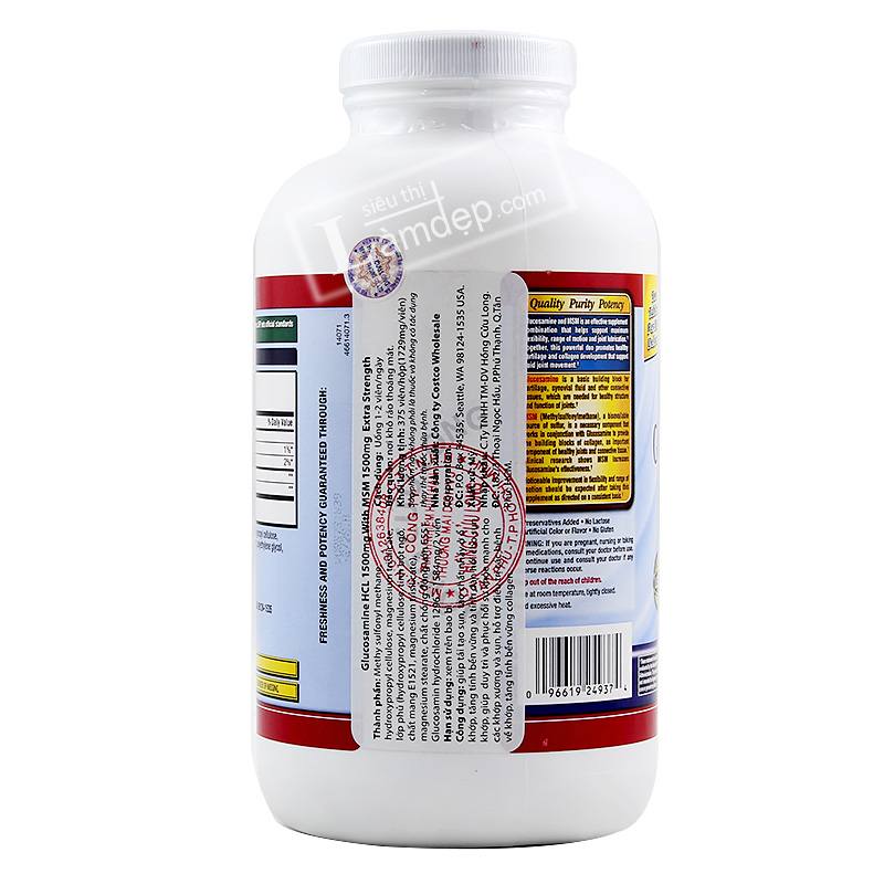 Glucosamine Kirkland HCL & MSM (1500mg x 375 Viên)
