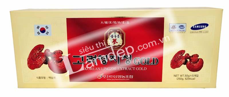 Mặt trước của Cao Linh Chi Đỏ có đầy đủ thông tin xuất xứ, nhà phân phối, chứng nhận chất lượng
