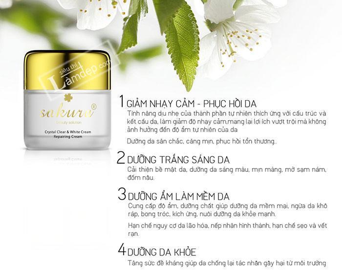 Sakura Crystal Clear White & Repairing Cream