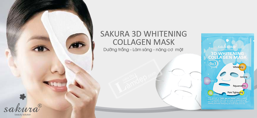 Mặt Nạ Trắng Da Sakura 3D Whitening Collagen Mask